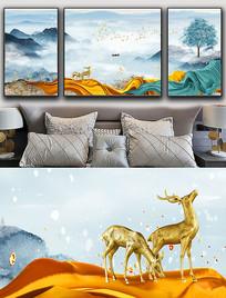 现代简约轻奢艺术抽象飘带麋鹿山水晶瓷画 PSD