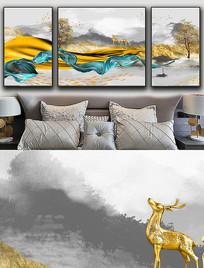 现代简约轻奢艺术金色抽象飘带麋鹿晶瓷画 PSD