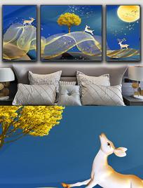 现代简约轻奢艺术麋鹿金色线条晶瓷画 PSD