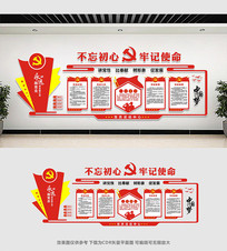 中国风党建文化墙设计 CDR