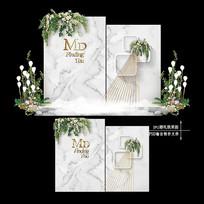 大理石纹婚礼效果图设计韩式婚庆舞台背景 PSD