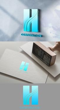 高端大气H字母LOGO设计