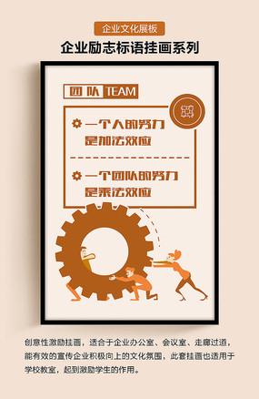 企业文化励志标语团队努力展板 PSD