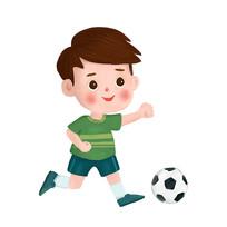 踢足球小男孩