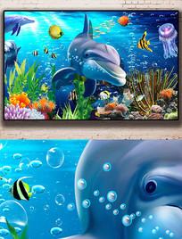 唯美海底世界珊瑚海星3D背景图