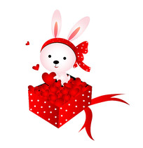 原创可爱卡通兔子爱心礼品盒