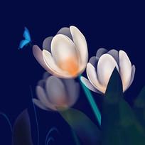 原创插画-花朵与蝴蝶