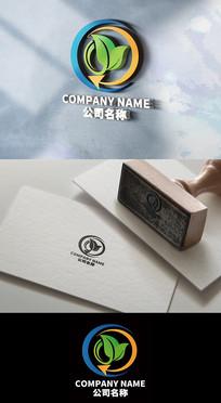 大气环保科技树叶logo设计
