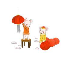 手绘喜庆卡通老鼠新年元素插画