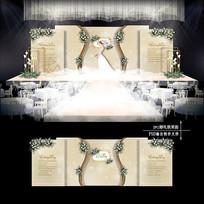 香槟色婚礼迎宾区效果图设计婚庆舞台背景 PSD