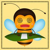 原创头晕目眩的蜜蜂卡通表情