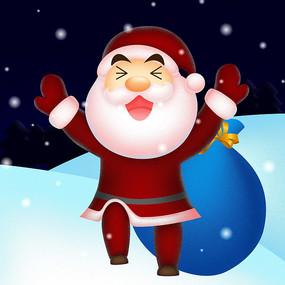 创雪地中开心的圣诞老人