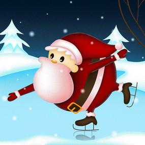 滑冰的圣诞老人 PSD