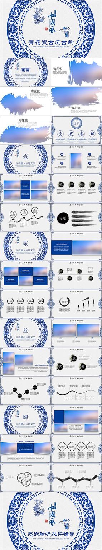 蓝色中国风水墨青花瓷PPT模板
