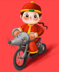 骑着鼠摩托的小男孩