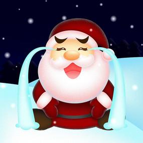 雪地中大哭的圣诞老
