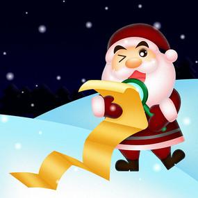 雪地中看礼物单的圣诞老人