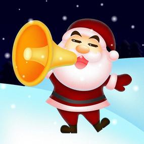 雪地中拿着喇叭的圣诞老