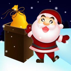 雪地中烟囱旁的圣诞老人 PSD