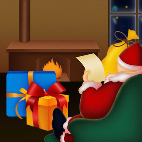 原创惬意的坐在沙发上的圣诞老人卡通插画