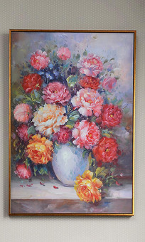 欧式花瓶静物油画