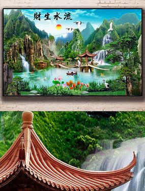唯美新中式山水画瀑布高山流水背景墙