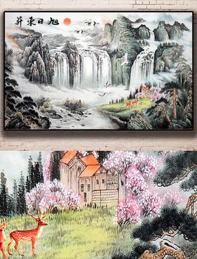 唯美新中式水瀑布高山流水墨山水背景墙