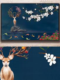 新中式麋鹿工笔花鸟山水背景墙