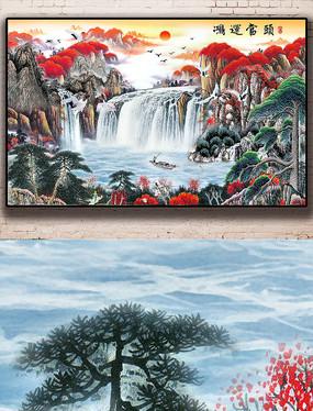 新中式水墨山水唯美瀑布高山流水背景墙