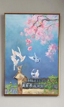 新中式屋檐花鸟油画