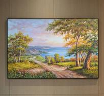 自然海湾风景油画艺术壁画
