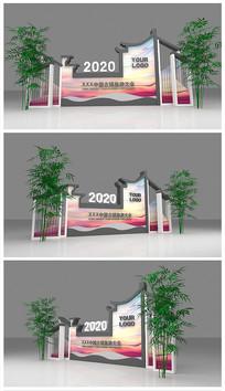 原创徽派建筑背景板美陈签到模型效果图