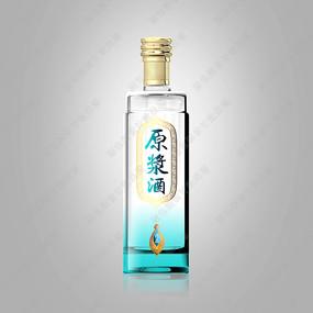 原浆酒浅蓝色渐变酒瓶效果图