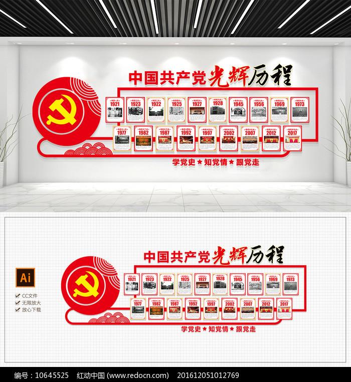 党的光辉历程党的一大到十九大会议文化墙图片