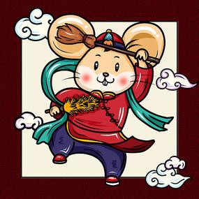 新年中国风老鼠卡通 PSD