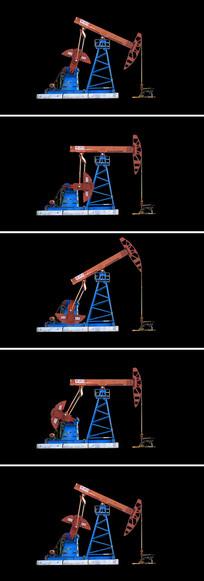 油田采油机磕头机无缝循环通道视频素材
