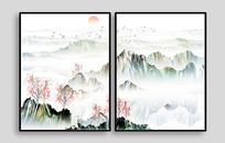 水彩山水现代装饰画
