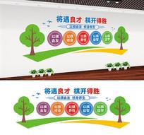 社区棋牌室宣传标语文化墙设计