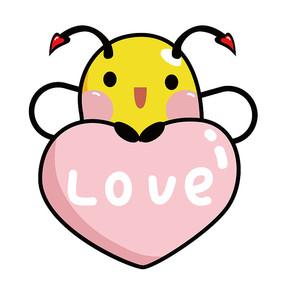原创手绘抱心爱你蜜蜂 AI