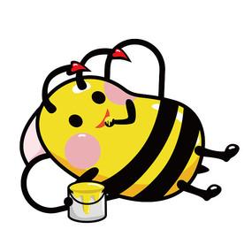 原创手绘躺着吃蜂蜜蜜蜂 AI