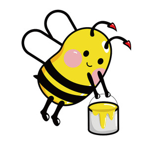 原创手绘提蜂蜜桶蜜蜂 AI