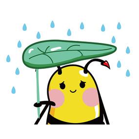原创手绘下雨委屈蜜蜂 AI
