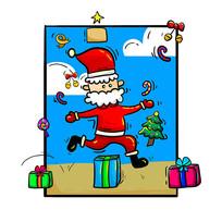 原创手绘圣诞节圣诞老人跳礼物