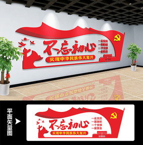 党员活动室不忘初心文化墙