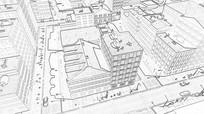 画一个大城市和交通线框草图视频素材