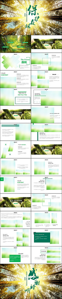 森林湿地环境保护植树造林PPT