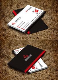 红色大气简约室内设计公司名片