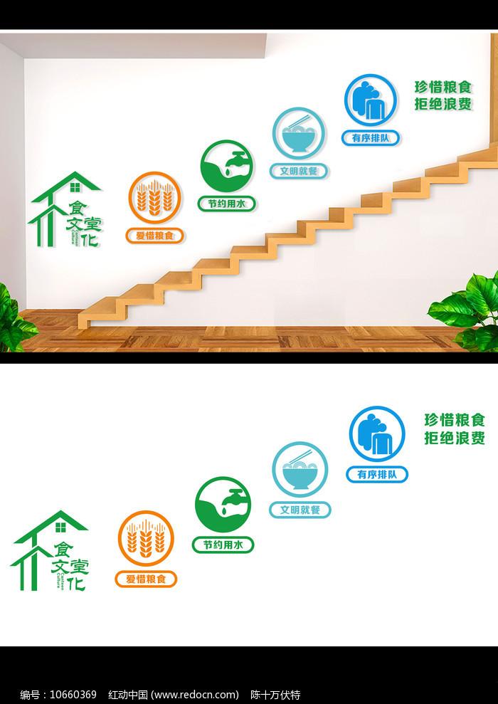 食堂文化楼梯背景墙设计图片