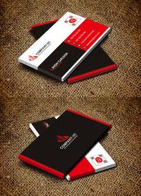 红色扁平化商务大气名片设计