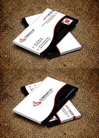 红色曲线创意商务风名片设计